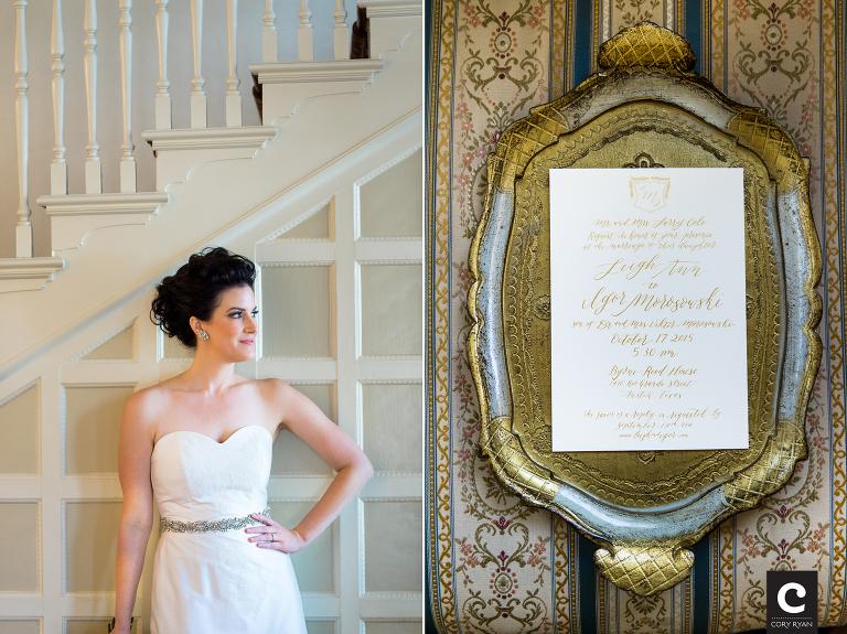 Elegant Calligraphy And Gold Byrne Reed House Wedding Austin Wedding Photographers