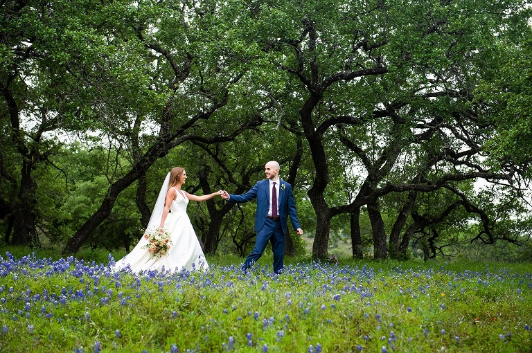 Austin bride and groom photo with bluebonnets
