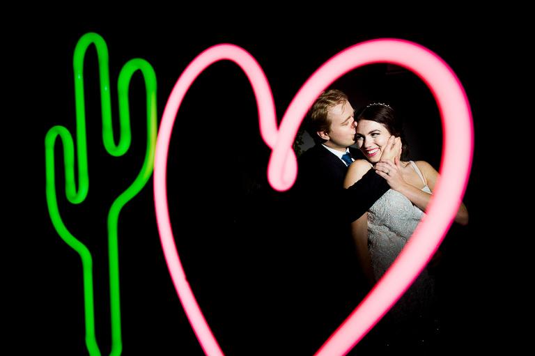 neon wedding bride and groom